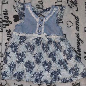 Navy Blue and white Flower Dress
